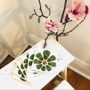 Set of 6 vintage tile coasters